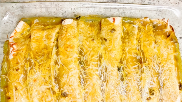 Chicken Enchiladas Verde with Hatch Chile Sauce